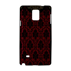 Elegant Black And Red Damask Antique Vintage Victorian Lace Style Samsung Galaxy Note 4 Hardshell Case
