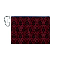 Elegant Black And Red Damask Antique Vintage Victorian Lace Style Canvas Cosmetic Bag (M)