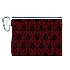 Elegant Black And Red Damask Antique Vintage Victorian Lace Style Canvas Cosmetic Bag (L)