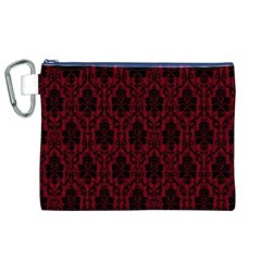 Elegant Black And Red Damask Antique Vintage Victorian Lace Style Canvas Cosmetic Bag (XL)