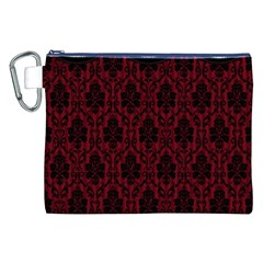 Elegant Black And Red Damask Antique Vintage Victorian Lace Style Canvas Cosmetic Bag (XXL)