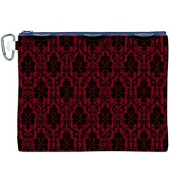 Elegant Black And Red Damask Antique Vintage Victorian Lace Style Canvas Cosmetic Bag (XXXL)