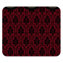 Elegant Black And Red Damask Antique Vintage Victorian Lace Style Double Sided Flano Blanket (Small)