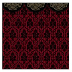 Elegant Black And Red Damask Antique Vintage Victorian Lace Style Large Satin Scarf (Square)
