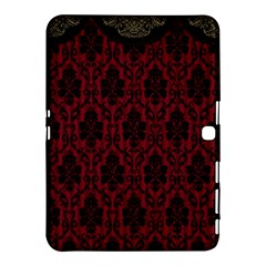 Elegant Black And Red Damask Antique Vintage Victorian Lace Style Samsung Galaxy Tab 4 (10.1 ) Hardshell Case
