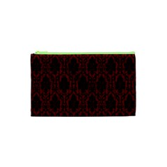 Elegant Black And Red Damask Antique Vintage Victorian Lace Style Cosmetic Bag (XS)