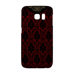 Elegant Black And Red Damask Antique Vintage Victorian Lace Style Galaxy S6 Edge