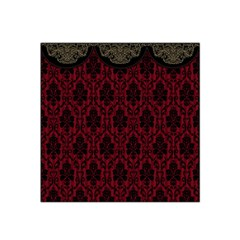 Elegant Black And Red Damask Antique Vintage Victorian Lace Style Satin Bandana Scarf