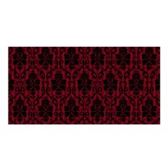 Elegant Black And Red Damask Antique Vintage Victorian Lace Style Satin Shawl