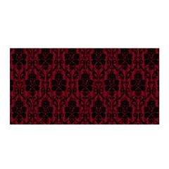 Elegant Black And Red Damask Antique Vintage Victorian Lace Style Satin Wrap
