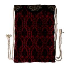 Elegant Black And Red Damask Antique Vintage Victorian Lace Style Drawstring Bag (Large)