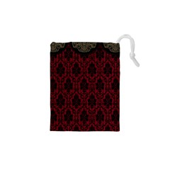 Elegant Black And Red Damask Antique Vintage Victorian Lace Style Drawstring Pouches (XS)