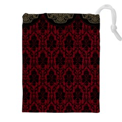 Elegant Black And Red Damask Antique Vintage Victorian Lace Style Drawstring Pouches (XXL)