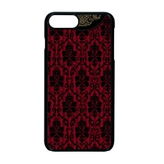 Elegant Black And Red Damask Antique Vintage Victorian Lace Style Apple iPhone 7 Plus Seamless Case (Black)