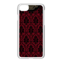 Elegant Black And Red Damask Antique Vintage Victorian Lace Style Apple iPhone 7 Seamless Case (White)