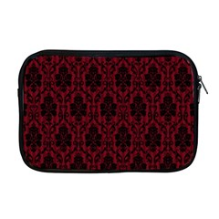 Elegant Black And Red Damask Antique Vintage Victorian Lace Style Apple MacBook Pro 17  Zipper Case