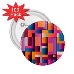 Abstract Background Geometry Blocks 2 25  Buttons (100 Pack)