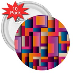 Abstract Background Geometry Blocks 3  Buttons (10 pack)