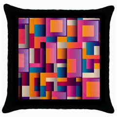 Abstract Background Geometry Blocks Throw Pillow Case (black)