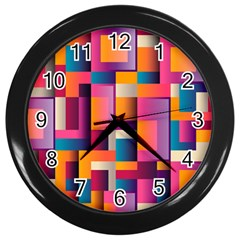 Abstract Background Geometry Blocks Wall Clocks (Black)