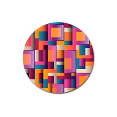 Abstract Background Geometry Blocks Magnet 3  (Round)