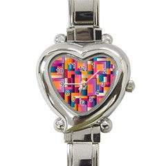 Abstract Background Geometry Blocks Heart Italian Charm Watch