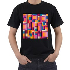 Abstract Background Geometry Blocks Men s T-Shirt (Black) (Two Sided)