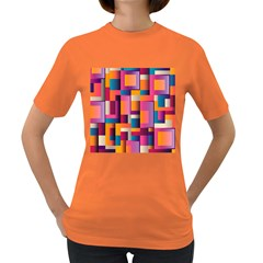 Abstract Background Geometry Blocks Women s Dark T-Shirt