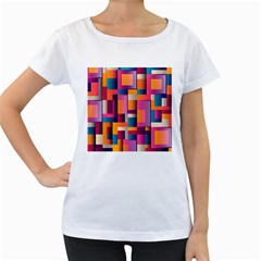 Abstract Background Geometry Blocks Women s Loose Fit T Shirt (white)