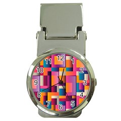 Abstract Background Geometry Blocks Money Clip Watches
