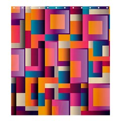 Abstract Background Geometry Blocks Shower Curtain 66  x 72  (Large)
