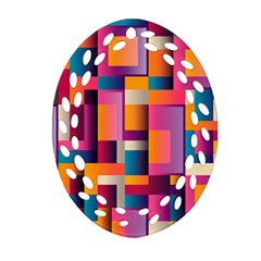 Abstract Background Geometry Blocks Oval Filigree Ornament (Two Sides)