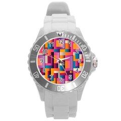 Abstract Background Geometry Blocks Round Plastic Sport Watch (L)