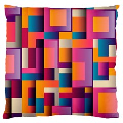 Abstract Background Geometry Blocks Large Cushion Case (One Side)