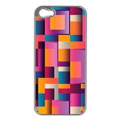 Abstract Background Geometry Blocks Apple iPhone 5 Case (Silver)