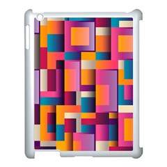 Abstract Background Geometry Blocks Apple iPad 3/4 Case (White)