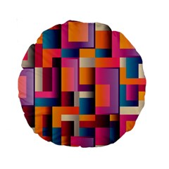 Abstract Background Geometry Blocks Standard 15  Premium Round Cushions
