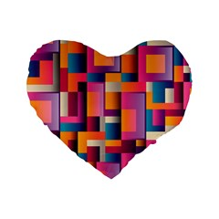Abstract Background Geometry Blocks Standard 16  Premium Heart Shape Cushions