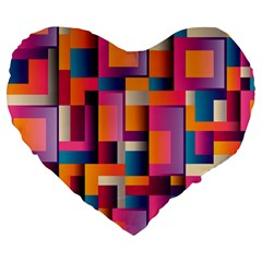 Abstract Background Geometry Blocks Large 19  Premium Heart Shape Cushions