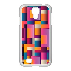 Abstract Background Geometry Blocks Samsung GALAXY S4 I9500/ I9505 Case (White)