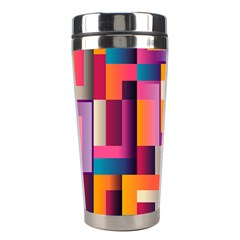 Abstract Background Geometry Blocks Stainless Steel Travel Tumblers