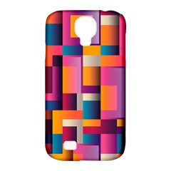 Abstract Background Geometry Blocks Samsung Galaxy S4 Classic Hardshell Case (PC+Silicone)
