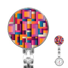 Abstract Background Geometry Blocks Stainless Steel Nurses Watch