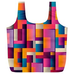 Abstract Background Geometry Blocks Full Print Recycle Bags (L)
