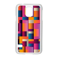 Abstract Background Geometry Blocks Samsung Galaxy S5 Case (White)