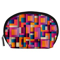 Abstract Background Geometry Blocks Accessory Pouches (Large)