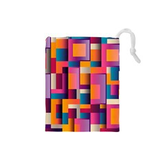 Abstract Background Geometry Blocks Drawstring Pouches (Small)