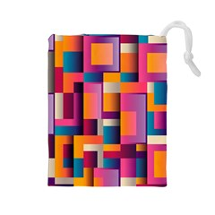 Abstract Background Geometry Blocks Drawstring Pouches (Large)