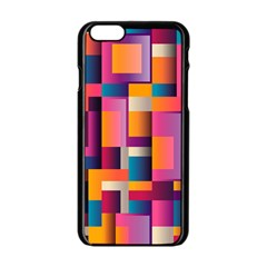 Abstract Background Geometry Blocks Apple iPhone 6/6S Black Enamel Case