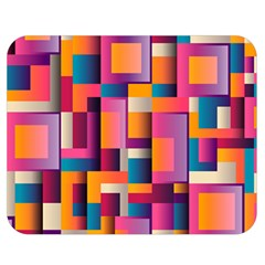 Abstract Background Geometry Blocks Double Sided Flano Blanket (Medium)
